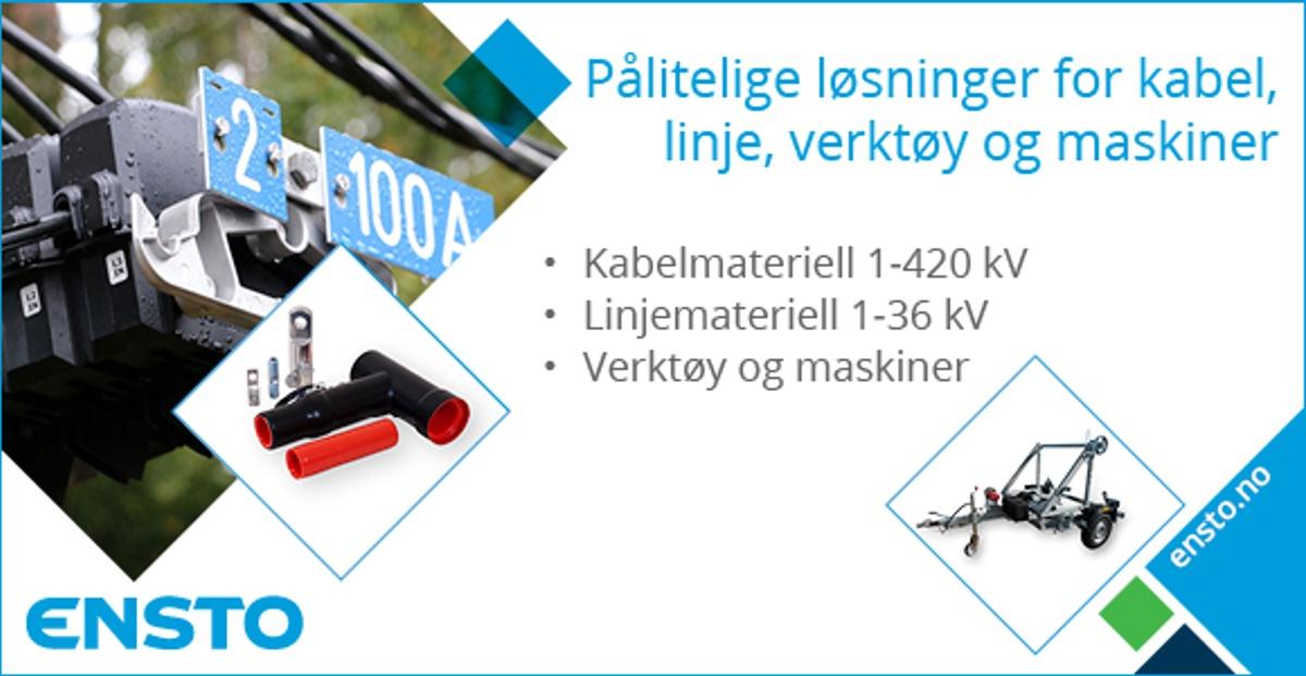 Annonsen viser bilder av utstyr som Ensto leverer