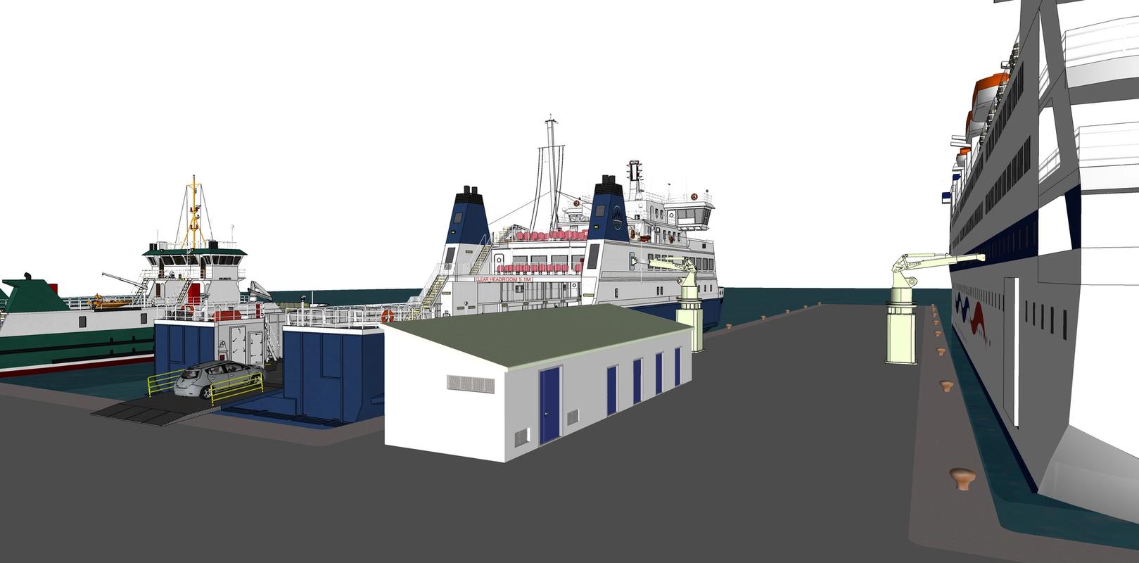 Bilde viser en 3D-tegning fra et havneområde som viser lading av større lastebåter og ferjer.