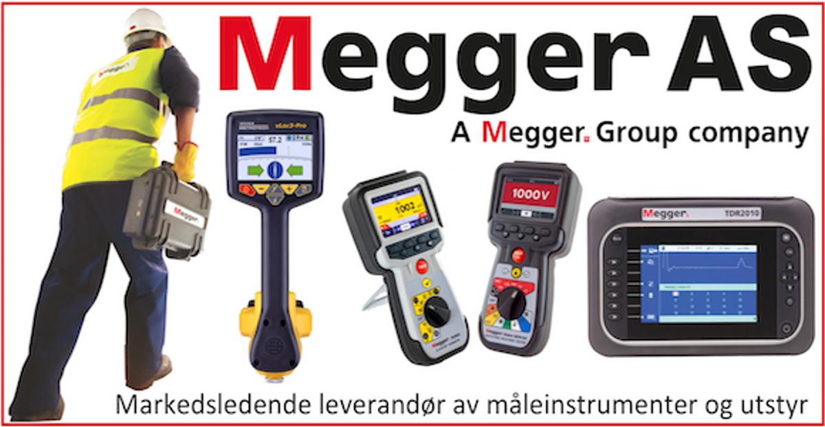Annonsen viser bilde av måleinstrumenter og utstyr som Megger selger