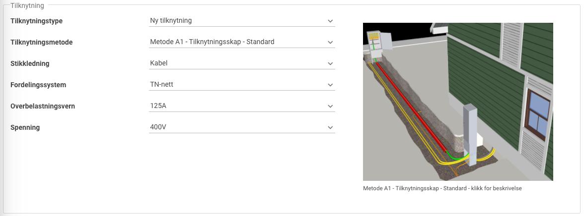 Skjermbilde fra Ledning som viser inndatafelter for tilknytningen