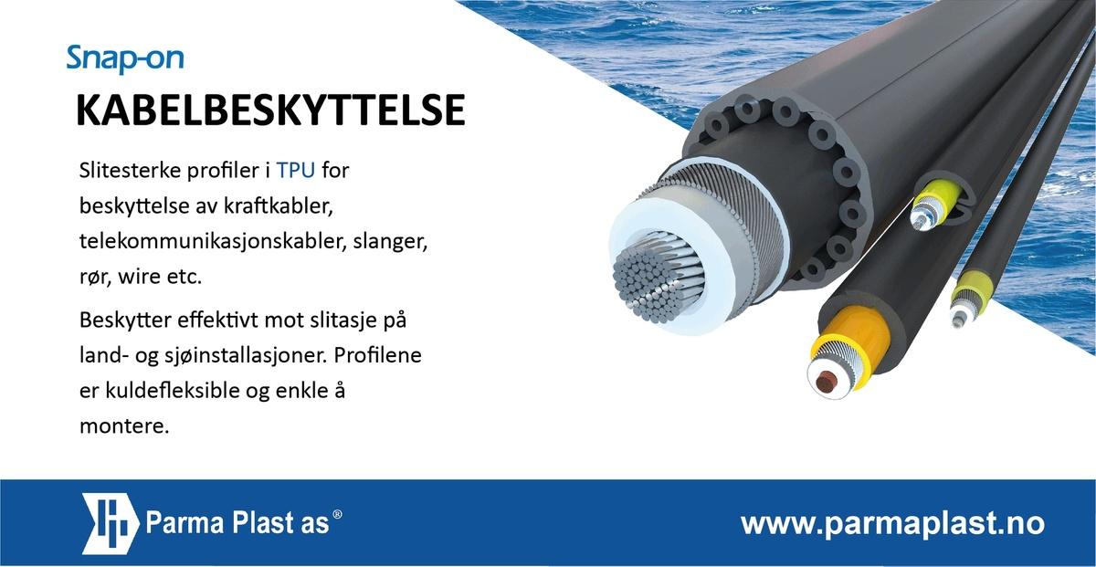 Annonsen viser bilde av kabelbeskytter ifra Parma Plast og forklarende tekst