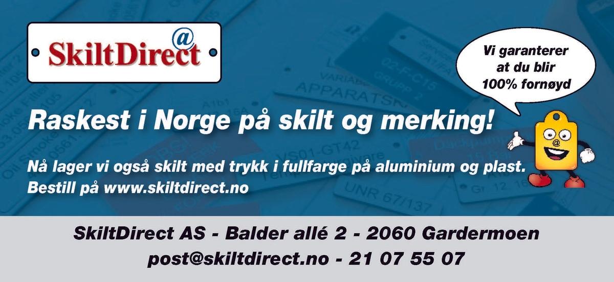 Annonsen forteller at Skilt Direct er rasket i Norge på skilt og merking. Annonsen viser også kontaktinformasjonen.