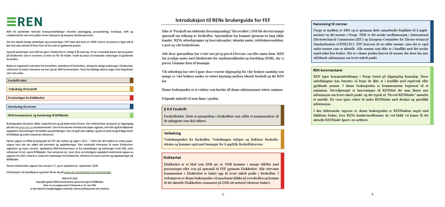 Tre eksempelsider fra brukerguidene som viser deres ulike innholdstyper