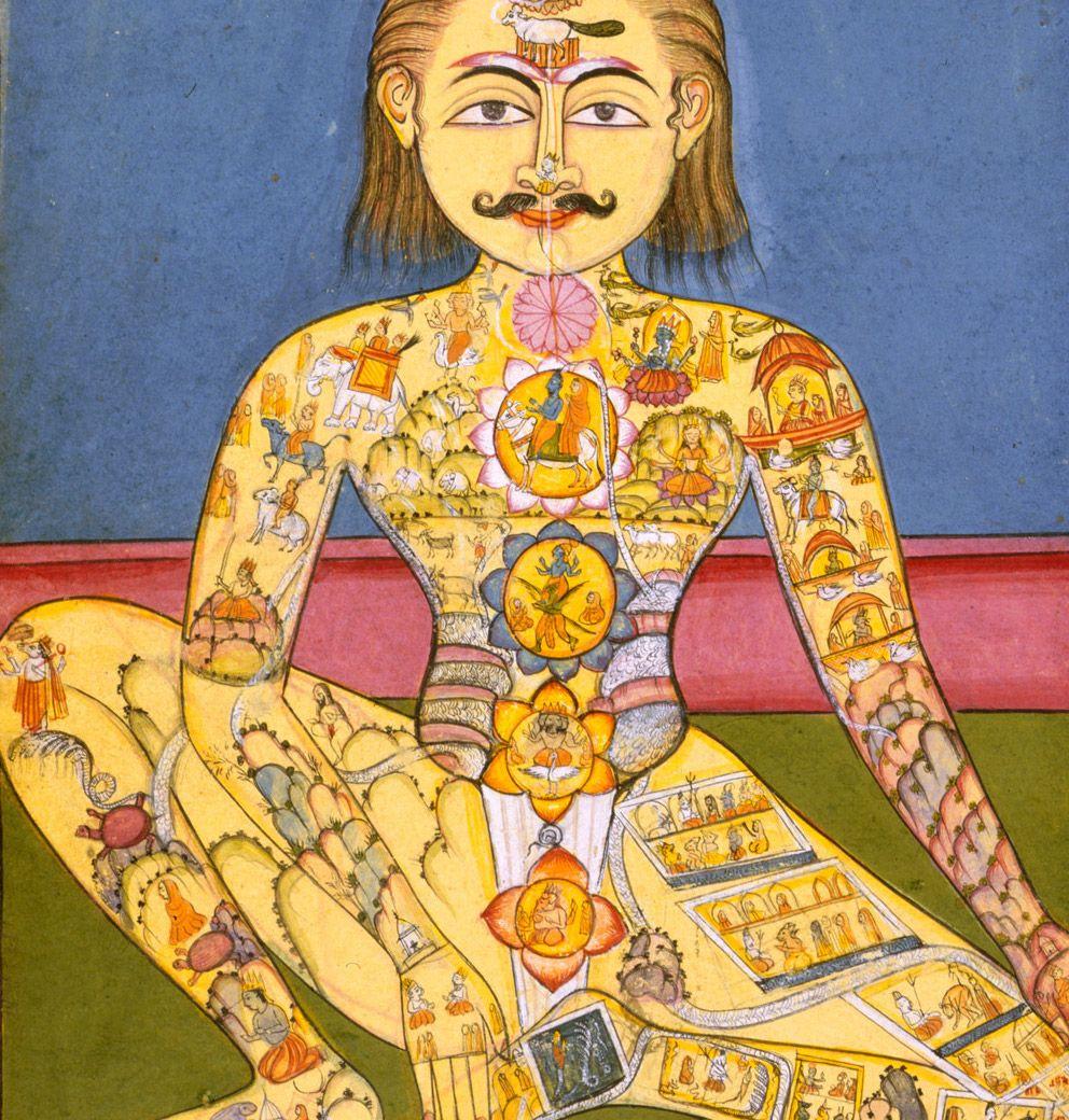 Old artwork depicting a hatha yogi and the chakra system
