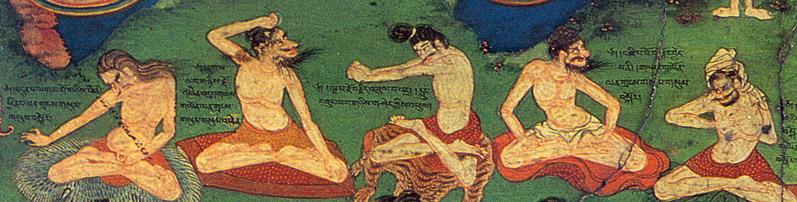 Old artwork depicting yogis practicing hatha yoga techniques.