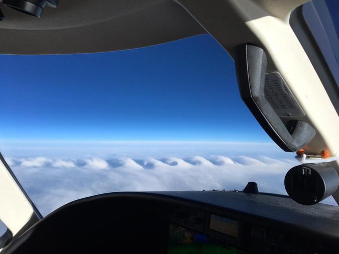 Clouds that resemble breaking ocean waves.