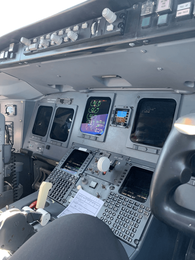 cockpit displays in an airliner