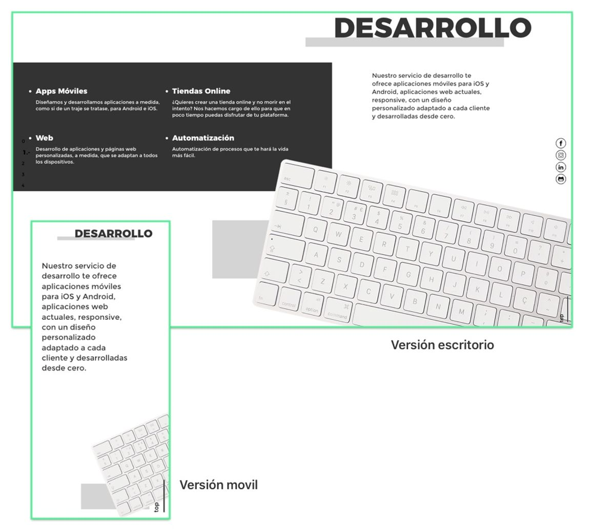 Versiones escritorio y móvil