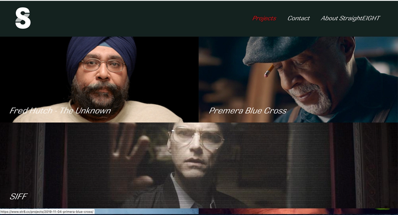 screen grab of page showing straight eight films projects
