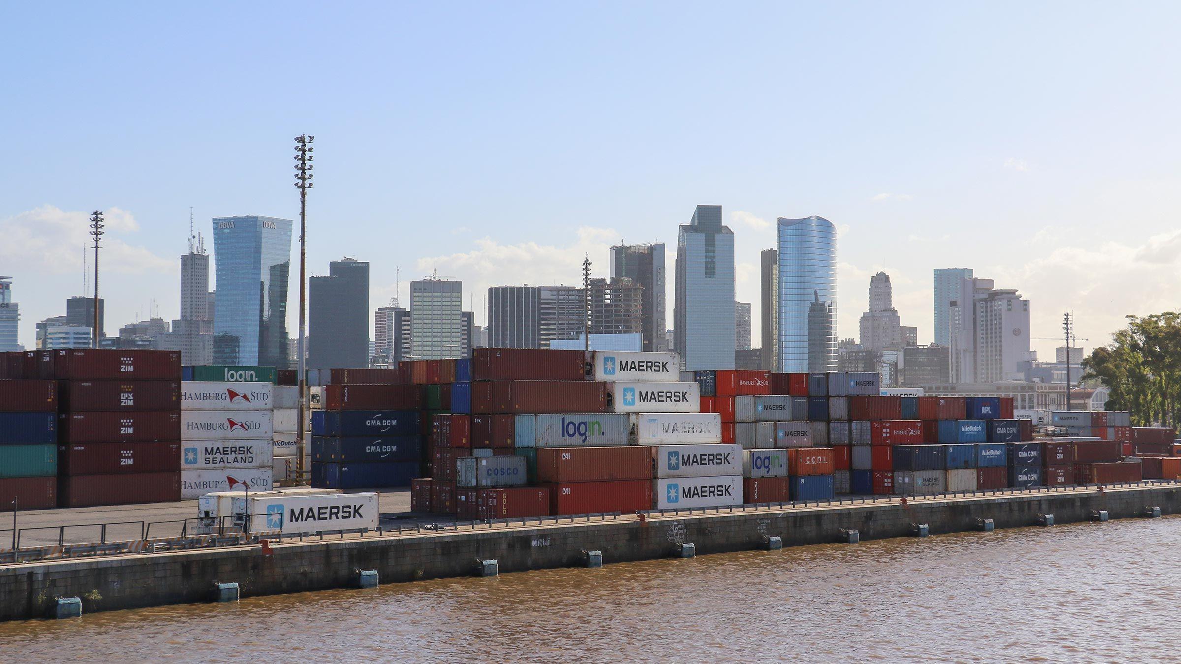 Containers at Rio Del La Plata, Argentina