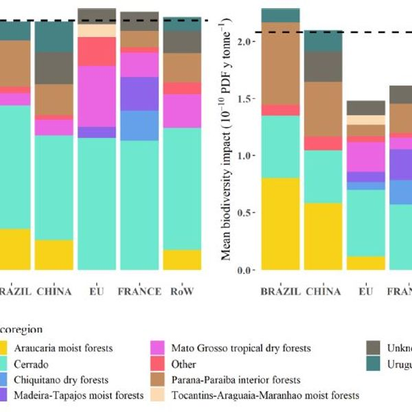 Life cycle inventory and potential damage to biodiversity for 1 tonne of soybean domestically consumed in Brazil and exported to China, the EU, France, and the rest of the world (RoW) in 2017.