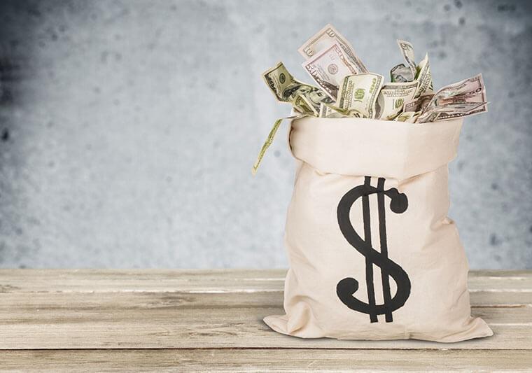 liquidation payout money bag