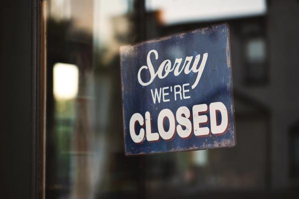 sorry we are closed door sign