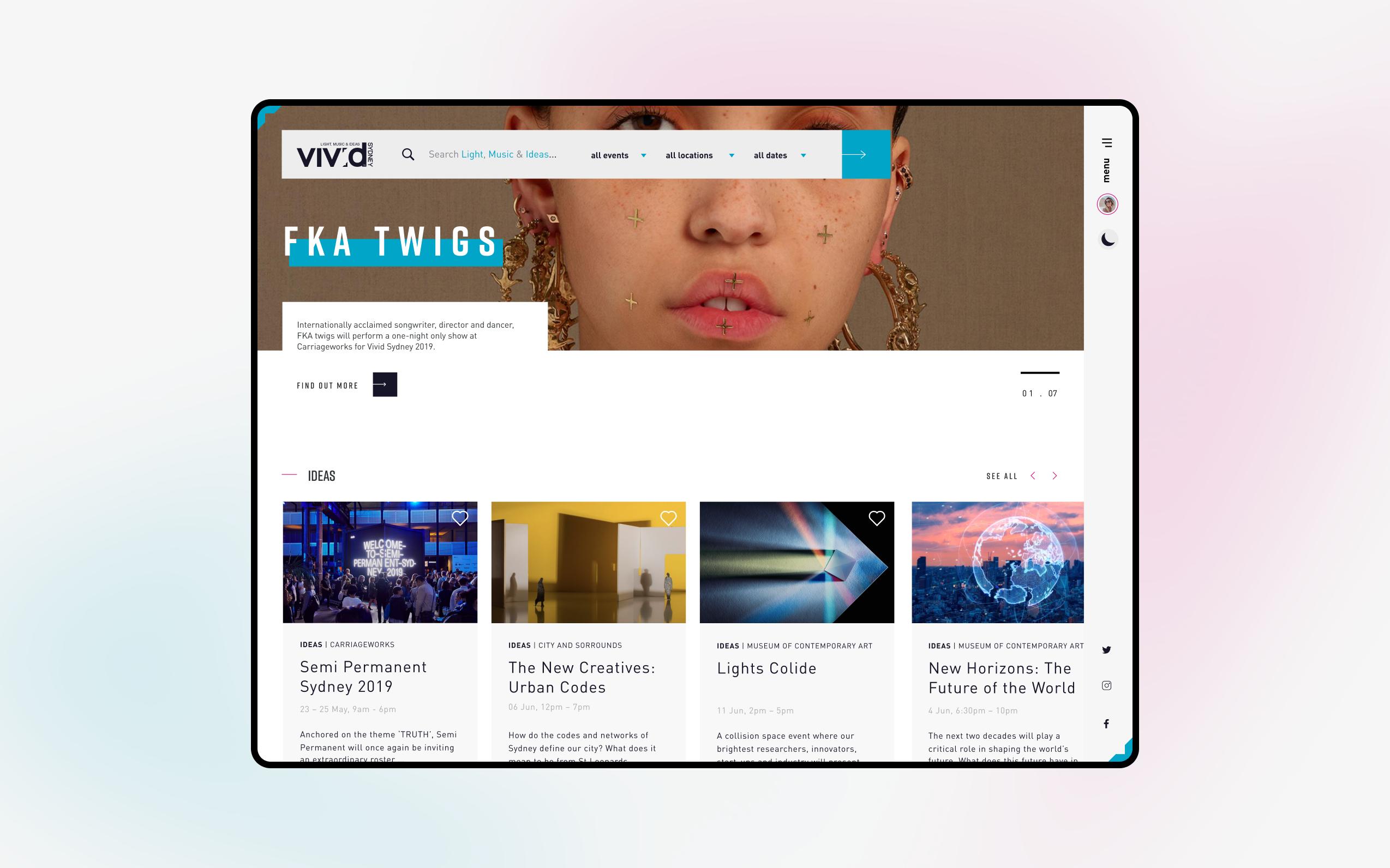 Desktop screen of the Vivid 2019 website homepage