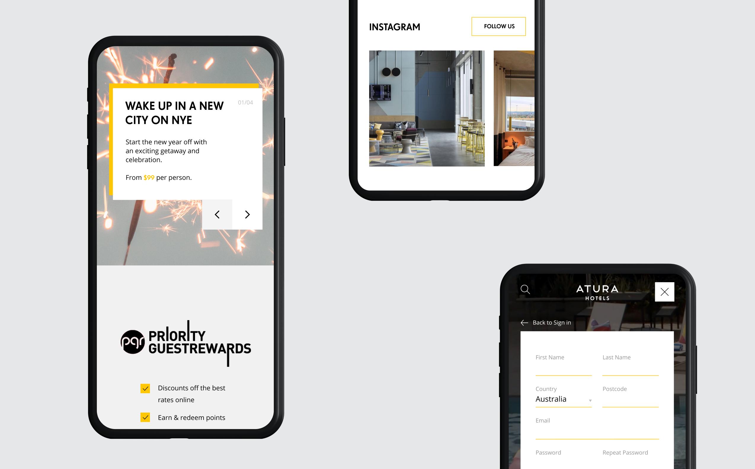 Three mobile website screens showcasing the new EVENT Atura design system