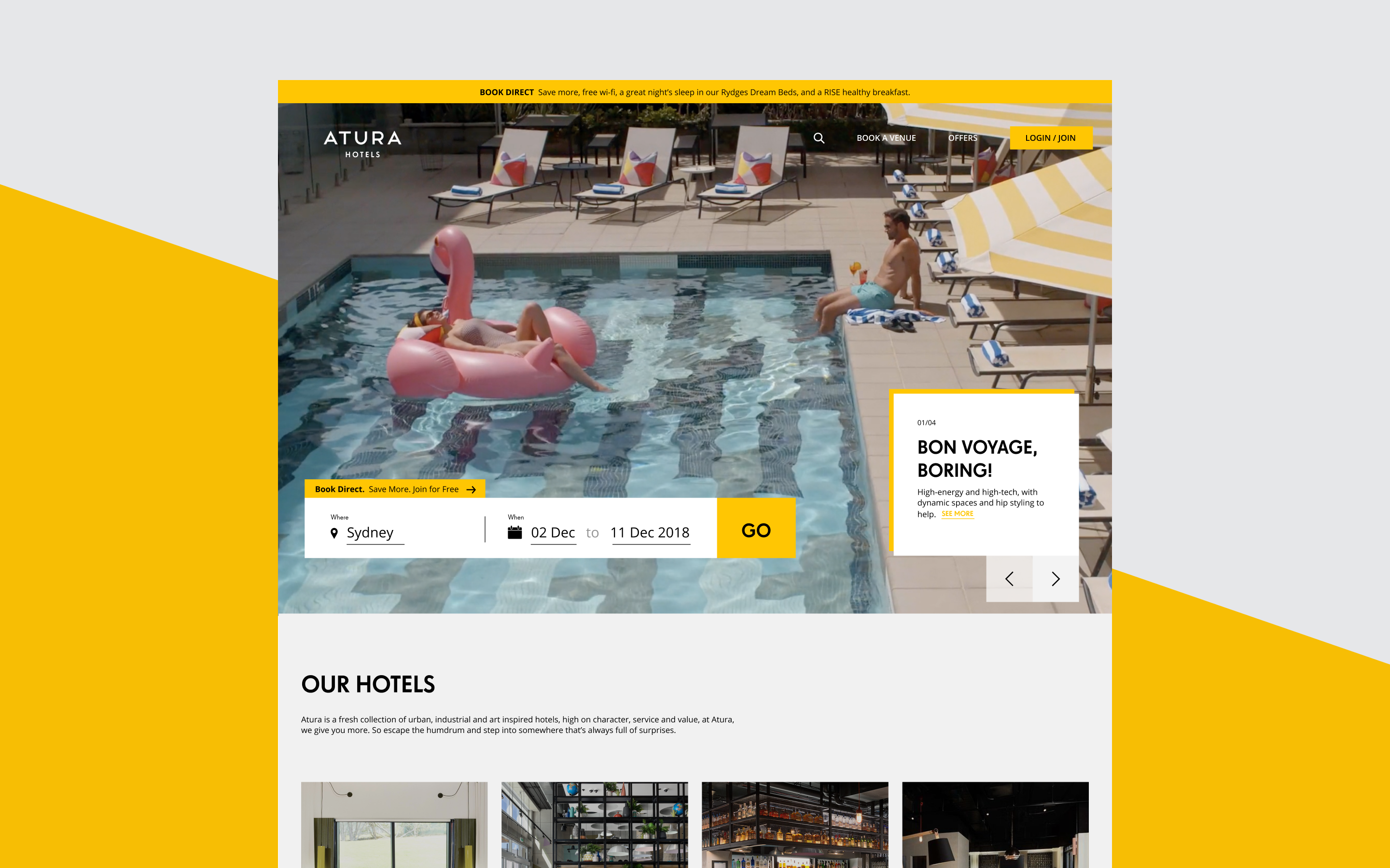 EVENT Atura new website design, featuring a clear information hierarchy and large booking CTA