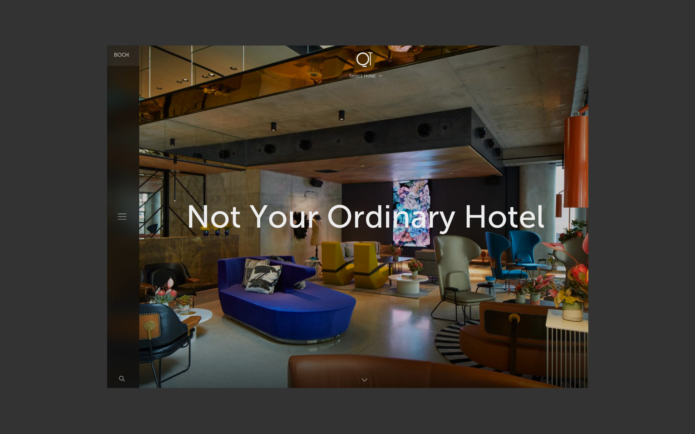 New QT website homescreen, featuring a full width image of a beautiful QT lounge area
