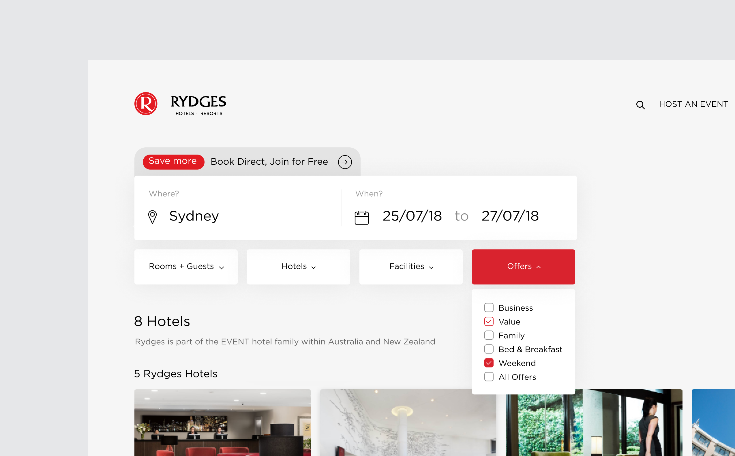EVENT Rydges new website design, showcasing streamlined desktop hotel search