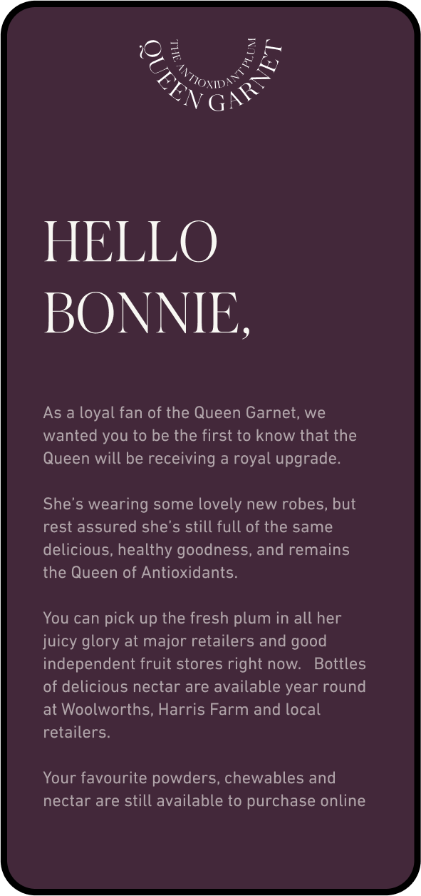 Queen Garnet email first paragraph