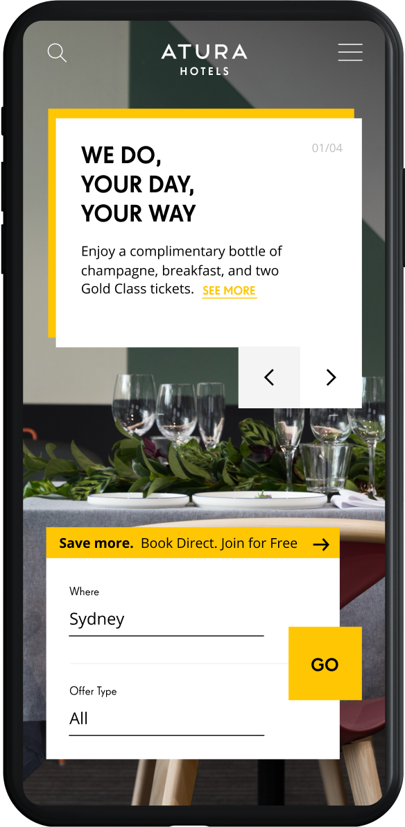 EVENT Atura new website design, showcasing mobile landing page with fast booking