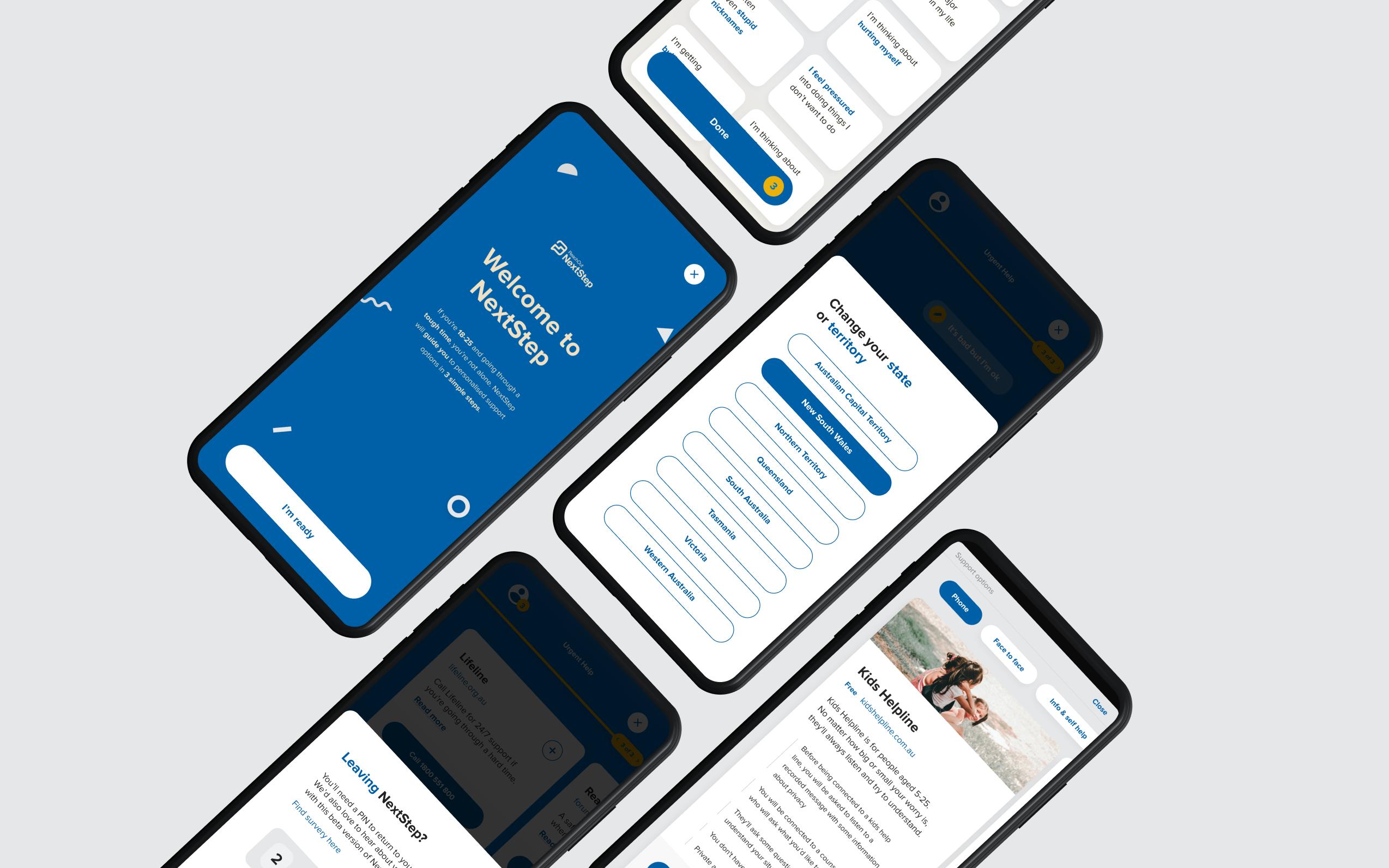 5 Next Step mobile screens, showcasing various screens across the application