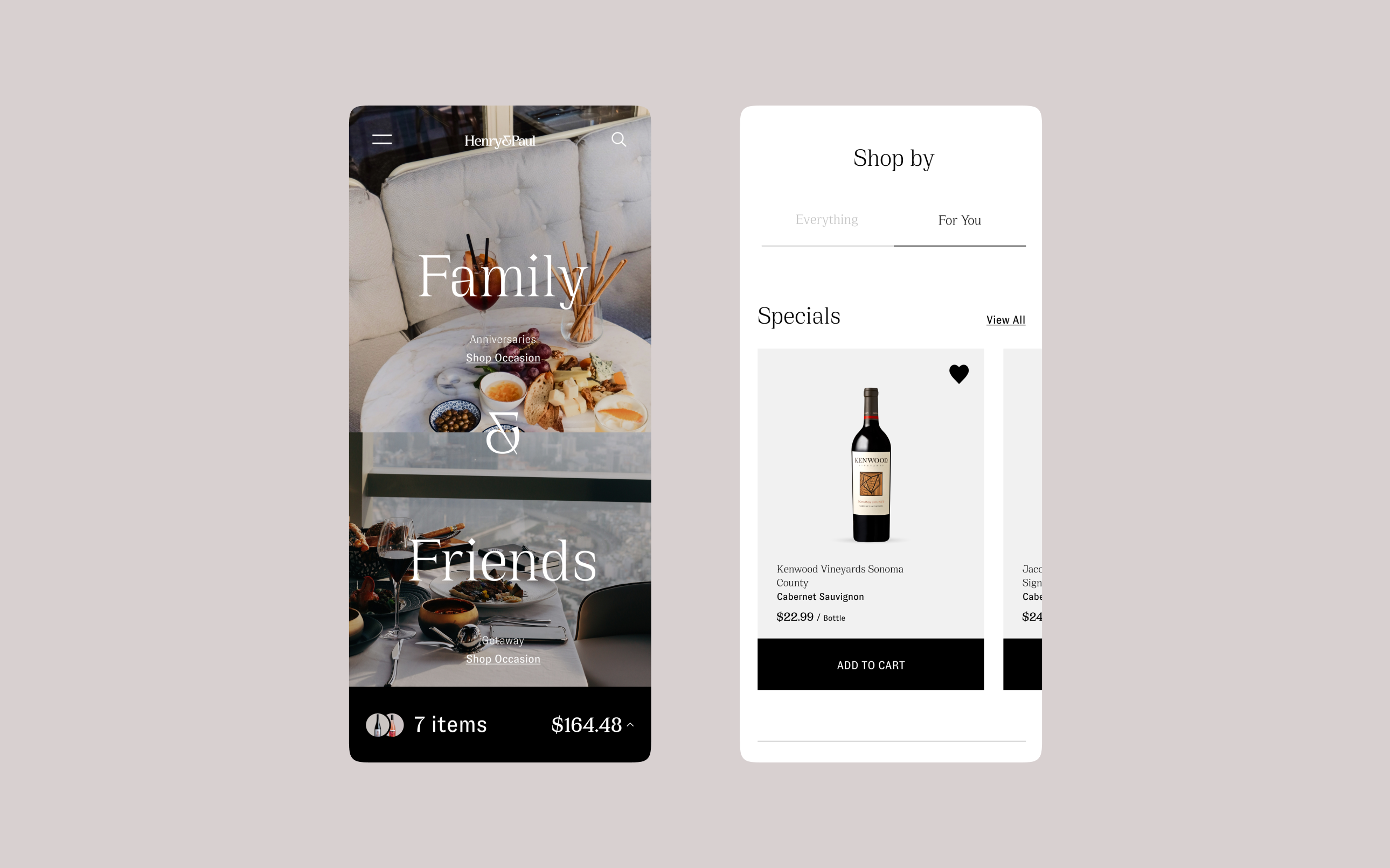 Henry & Paul website mobile screenshots, showcasing the homepage and product cards