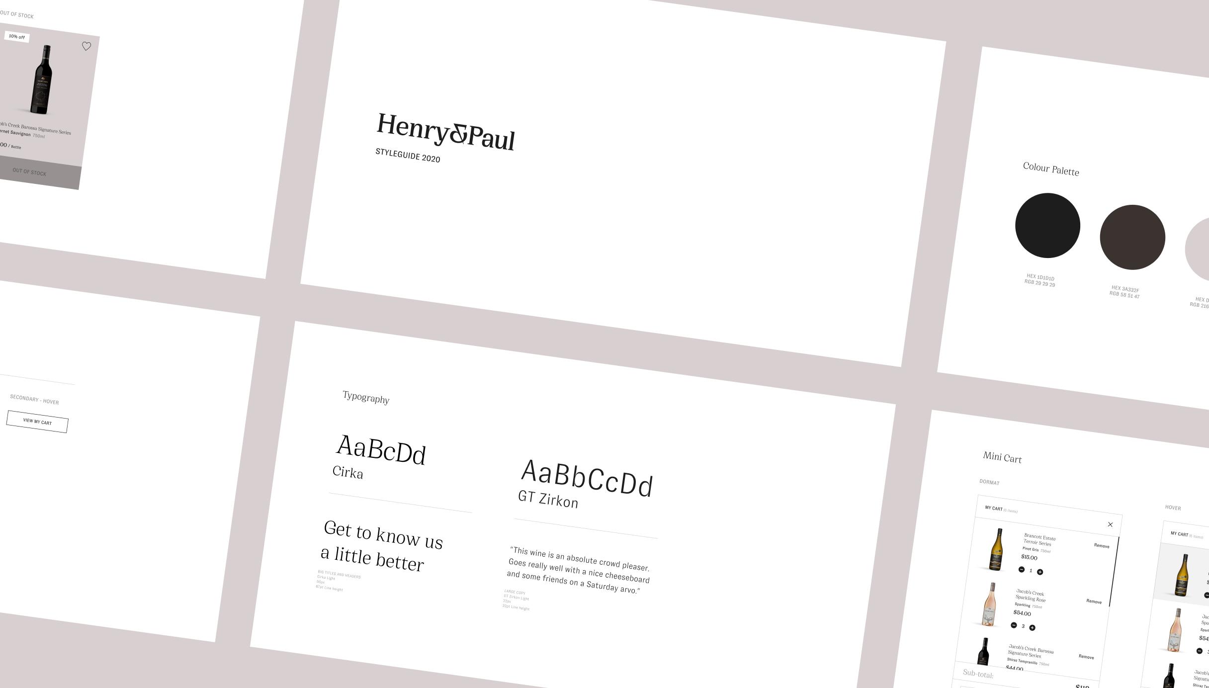 Multiple screens showcasing new Henry & Paul branding