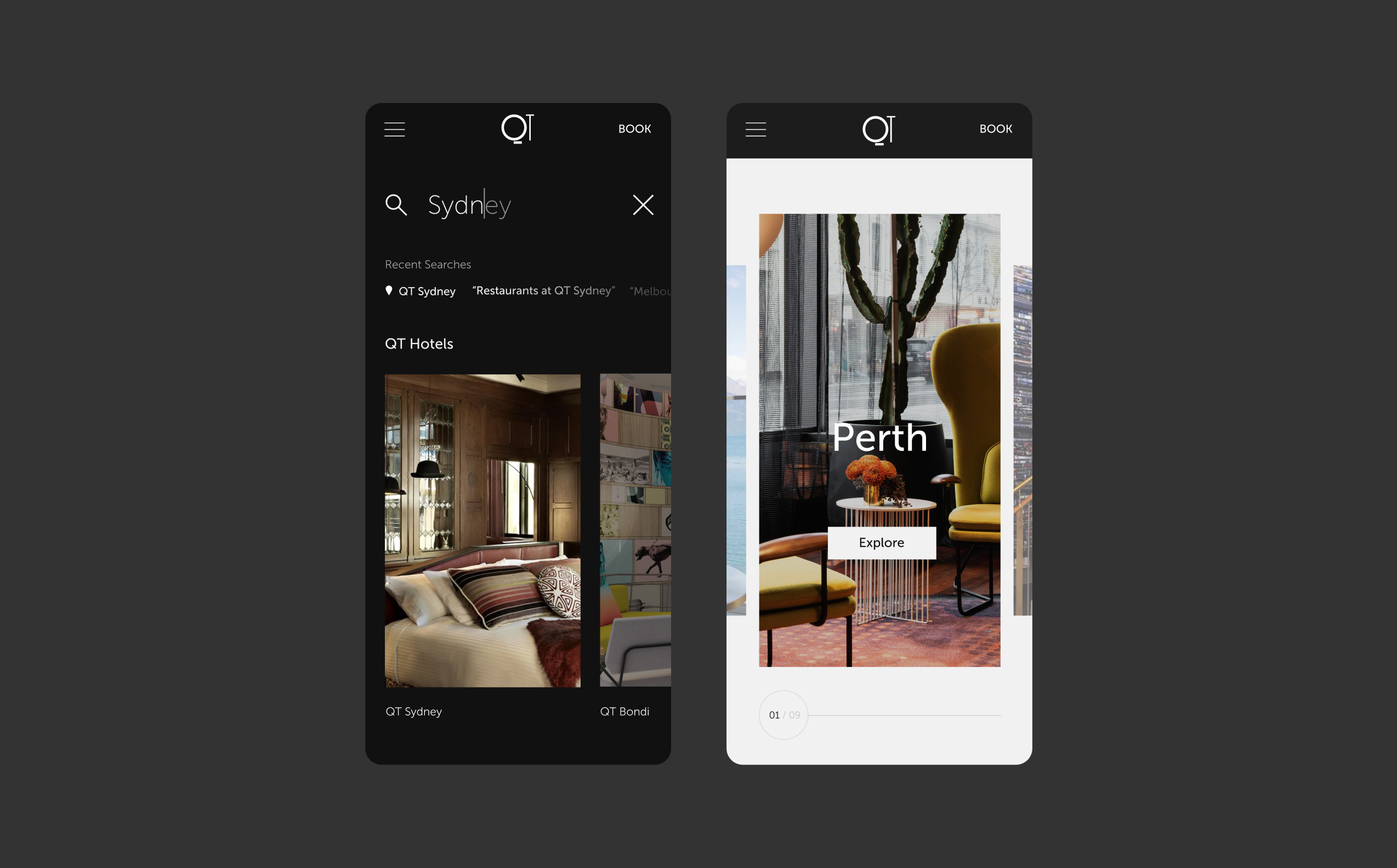 Two QT mobile screens, showcasing search and a hotel gallery with large portrait imagery