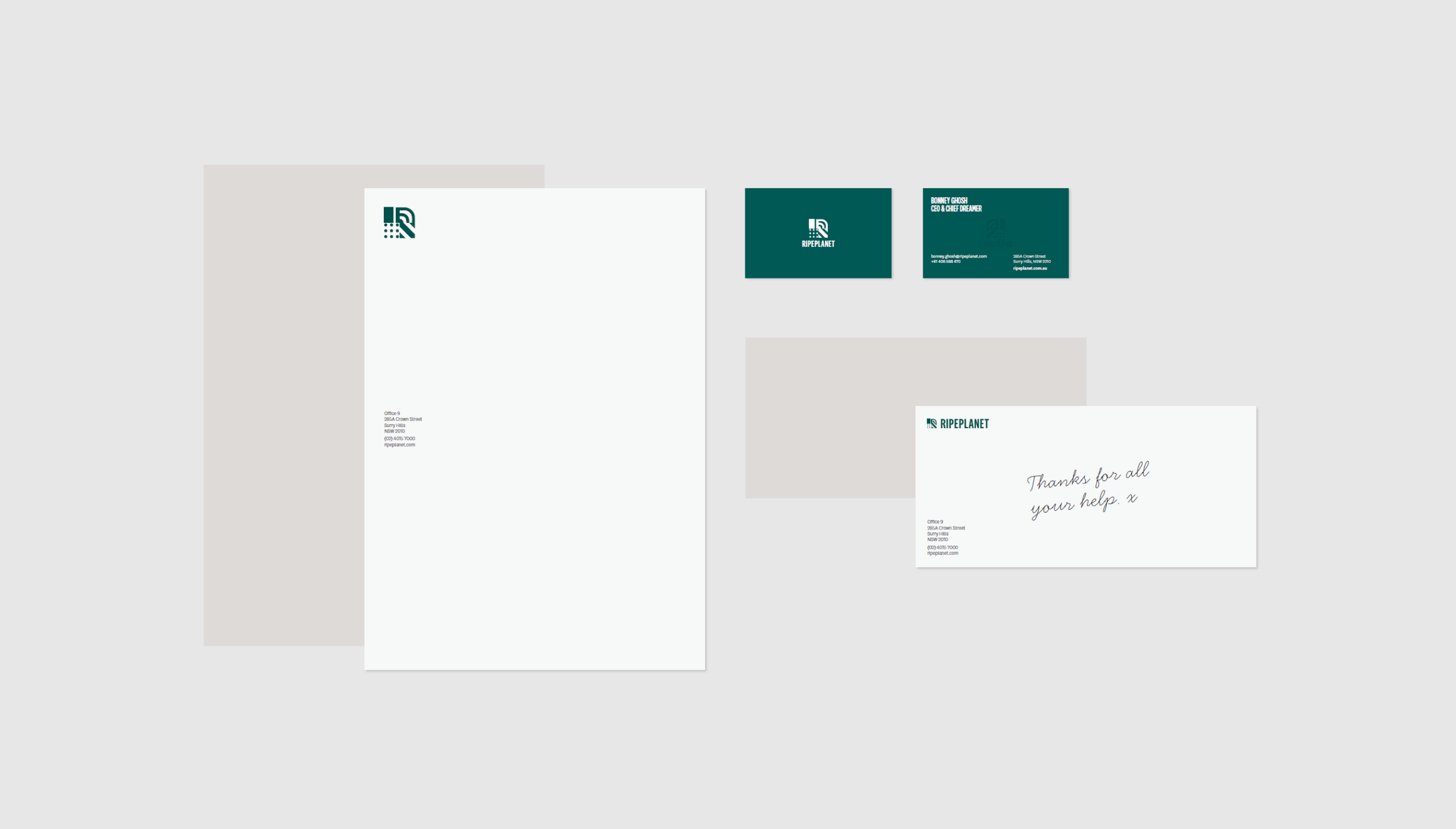 Ripe Planet new branding business cards and document marking