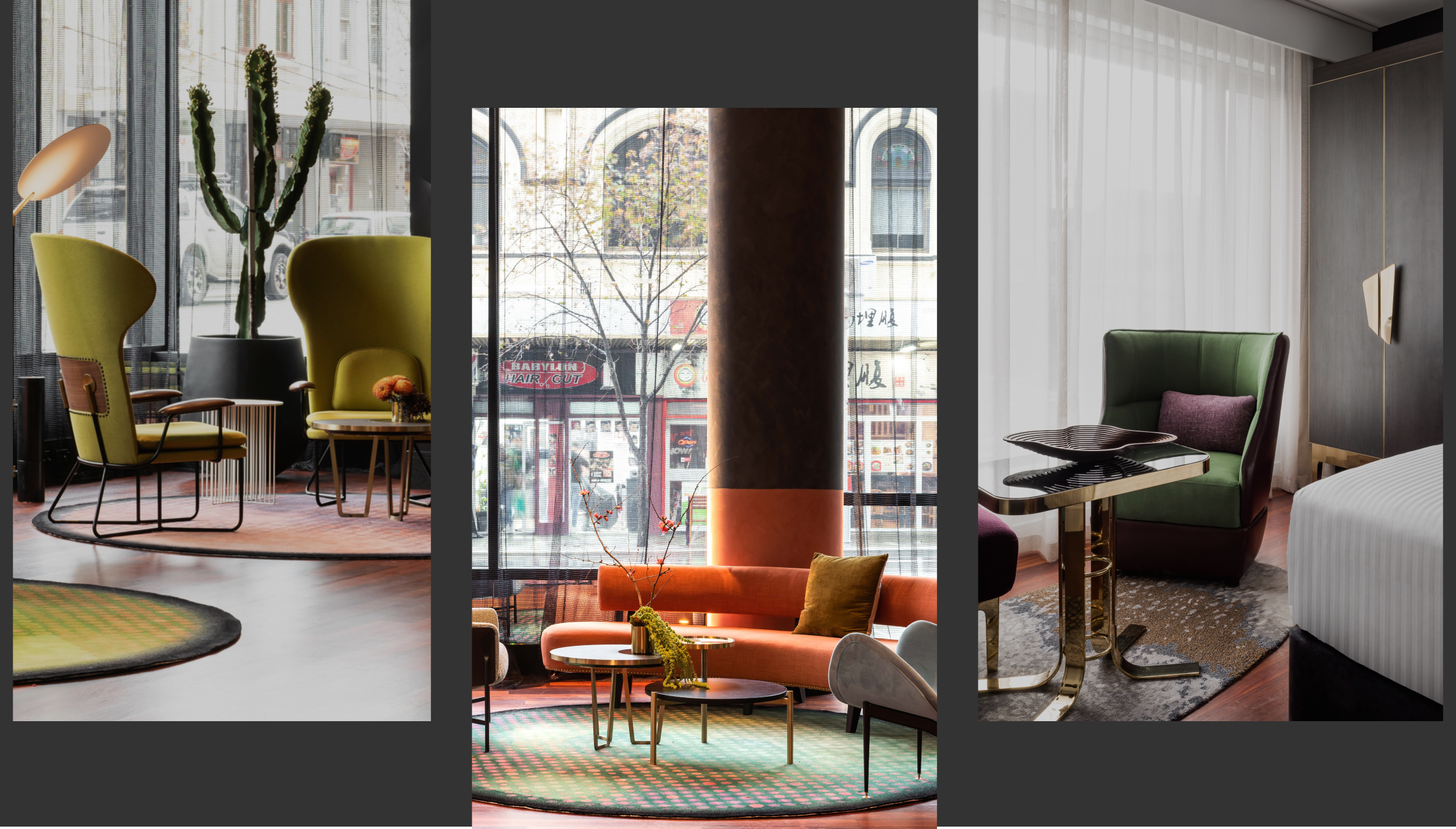Three images showcasing different luxury lounges inside QT hotels