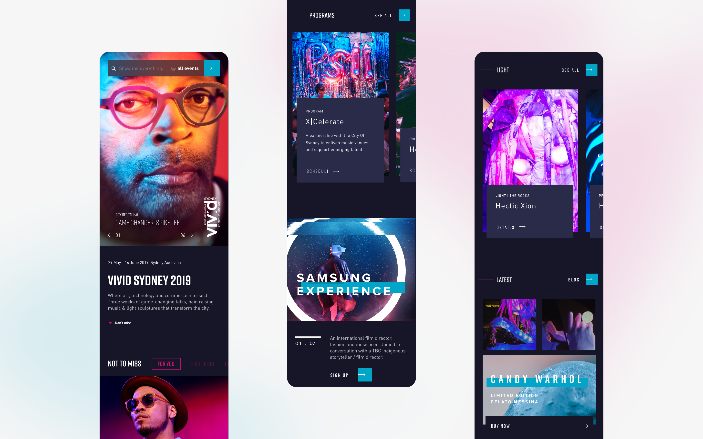 Three mobile screens showcasing vivid sydney website pages