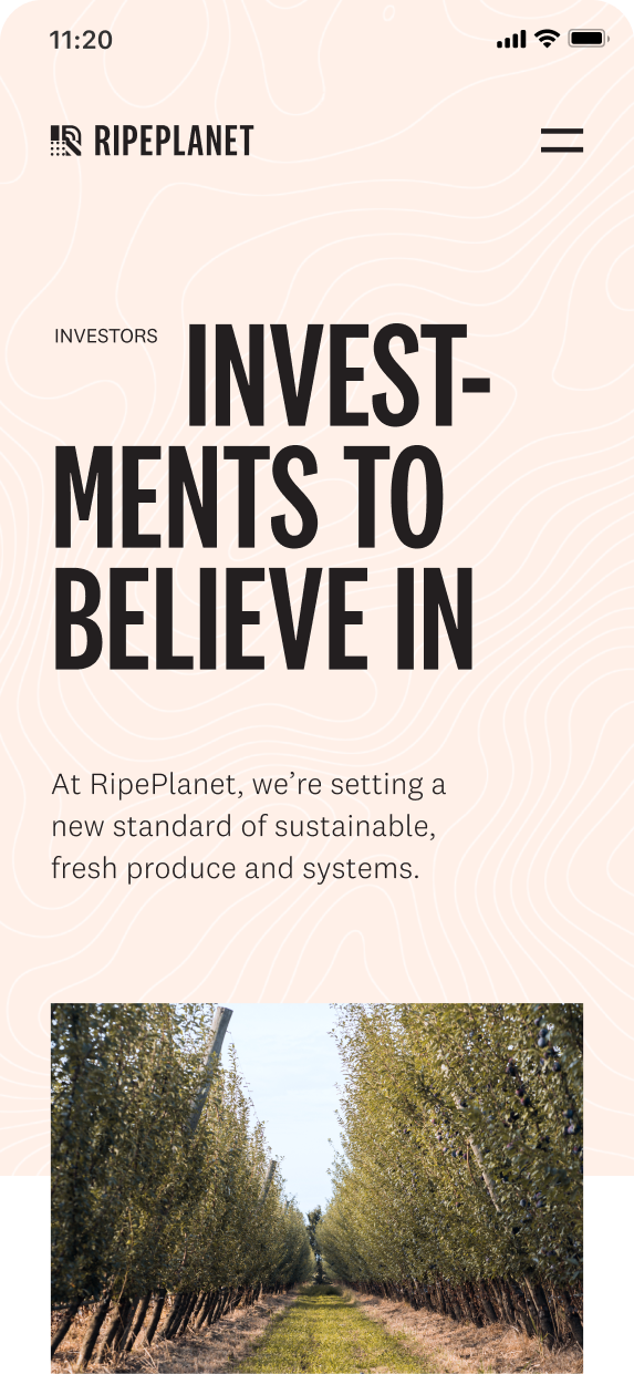Mobile Ripe Planet website investment page