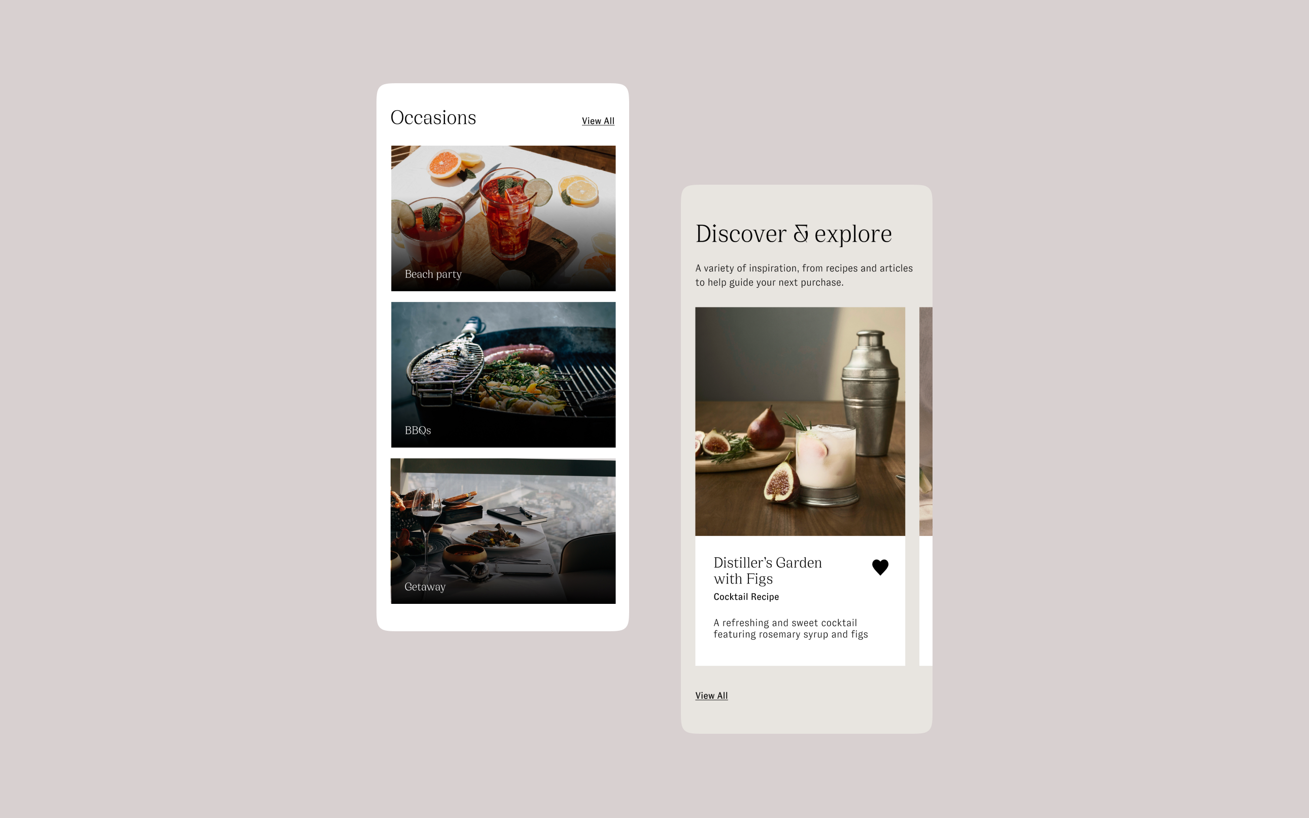 Henry & Paul mobile website screenshots, showing imagery and discover & explore modules