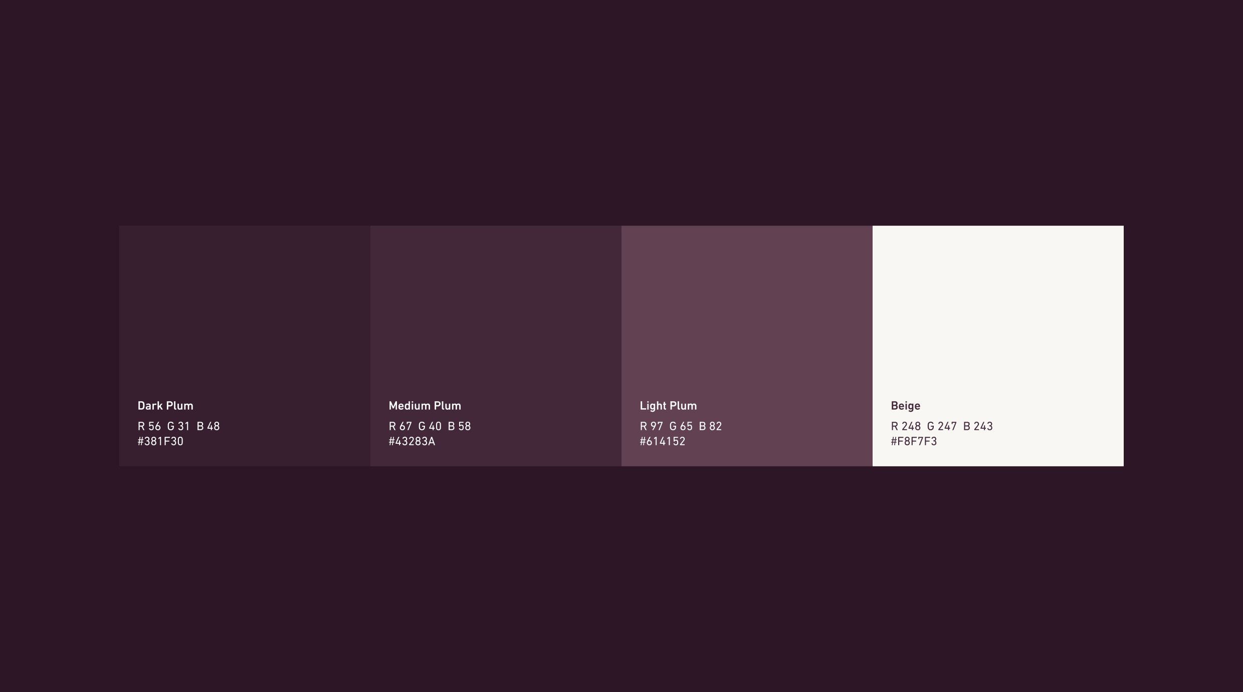 Screen showcasing the colour pallete for the Queen Garnet brand