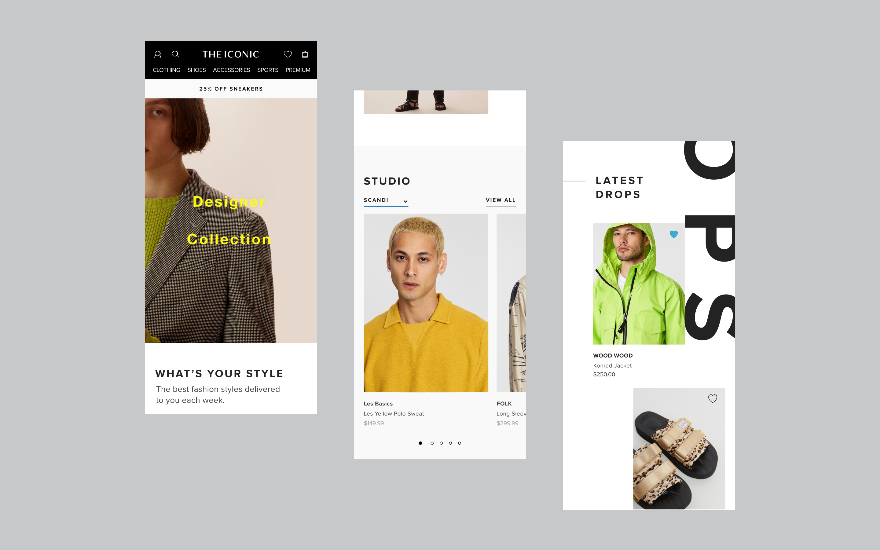 Three screens showcasing different ICONIC website modules all featuring premium clothing