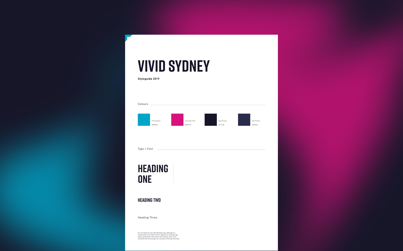 Vivid Sydney website design elements arrayed over a colour blur background
