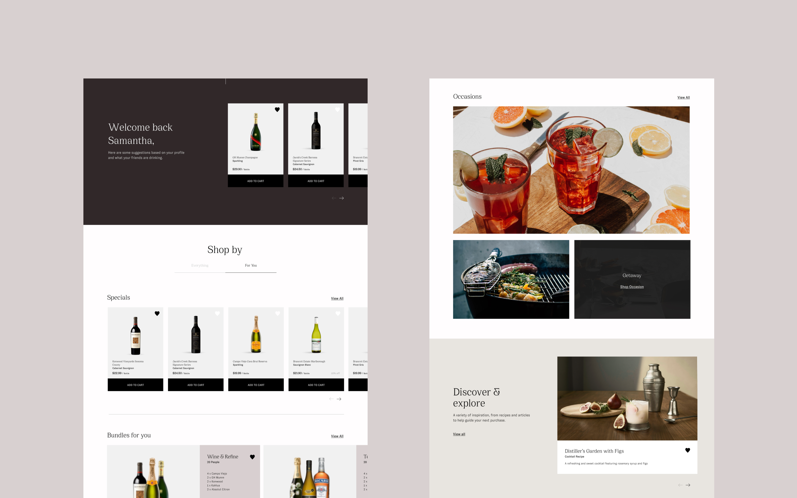 Henry & Paul desktop website screenshots, showcasing various imagery modules