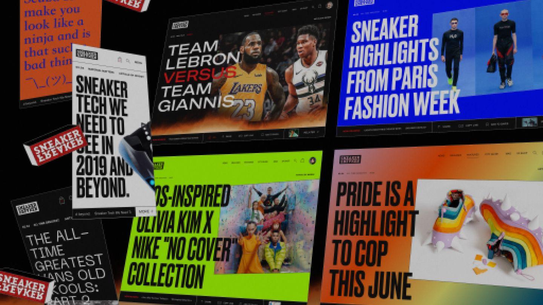 Design screens taken from across the new Sneakerfreaker.com design system