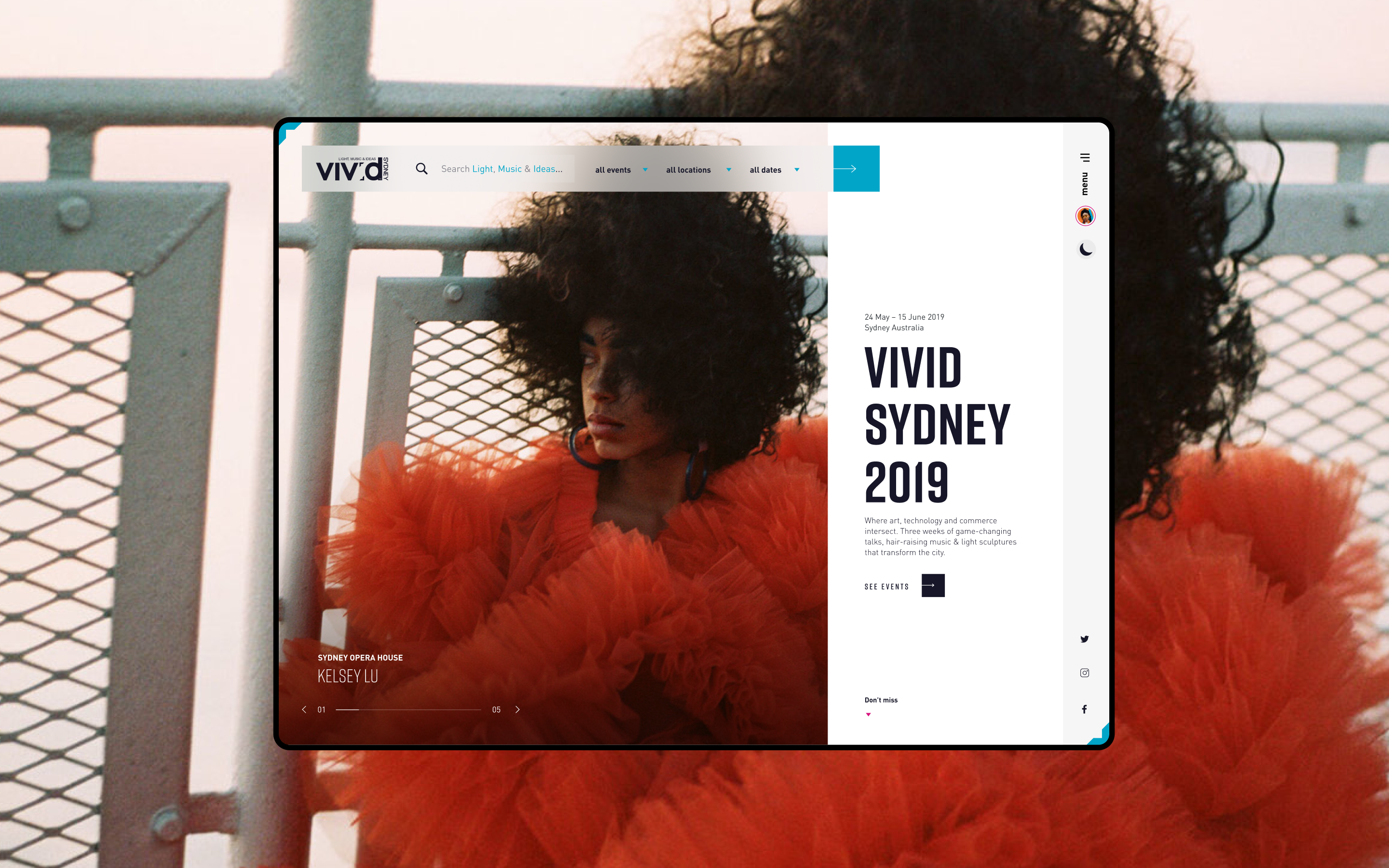Vivid Sydney website homepage hero, overlaid on top of an image of a girl