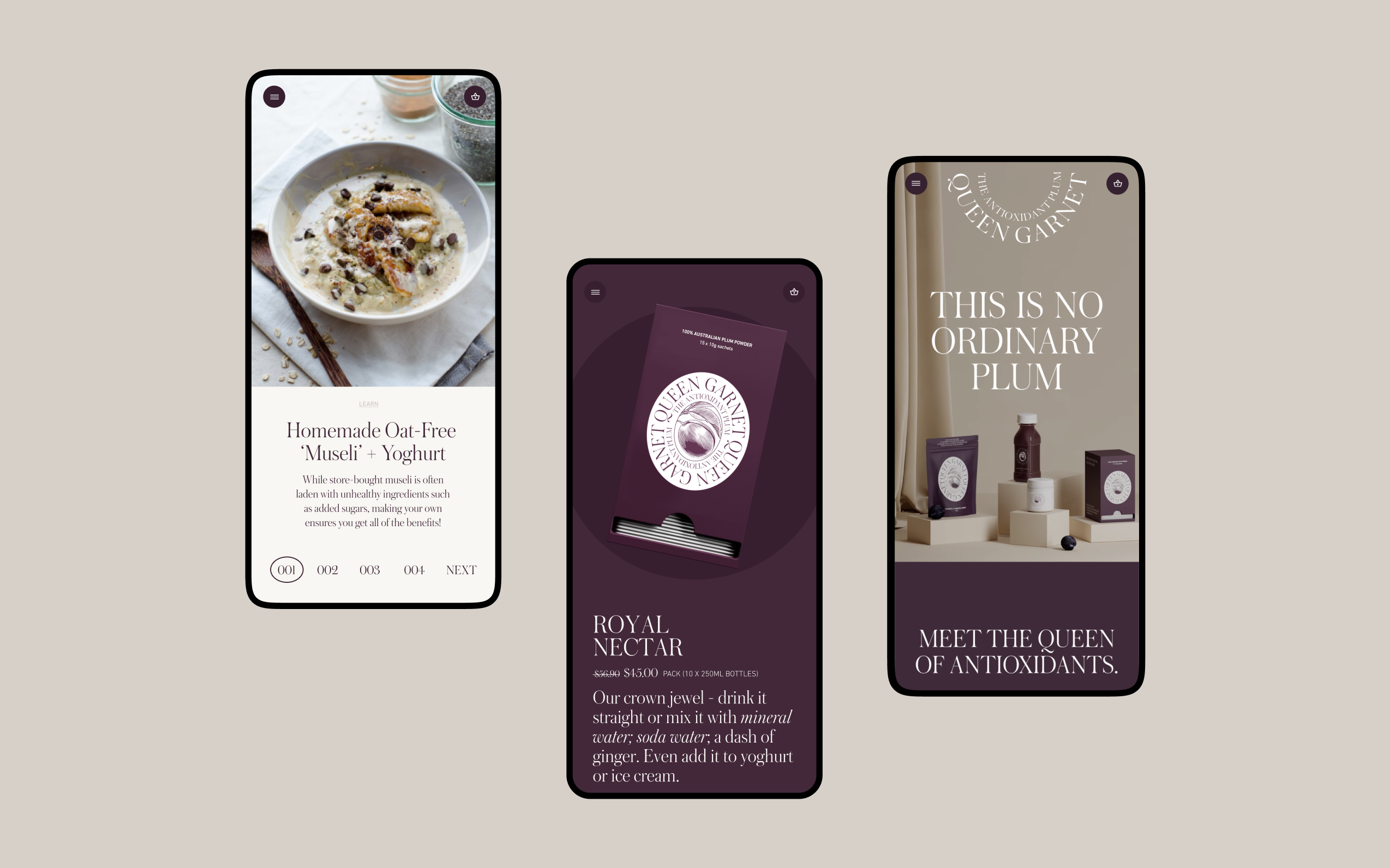 Three mobile screens showing various pages across the Queen Garnet website