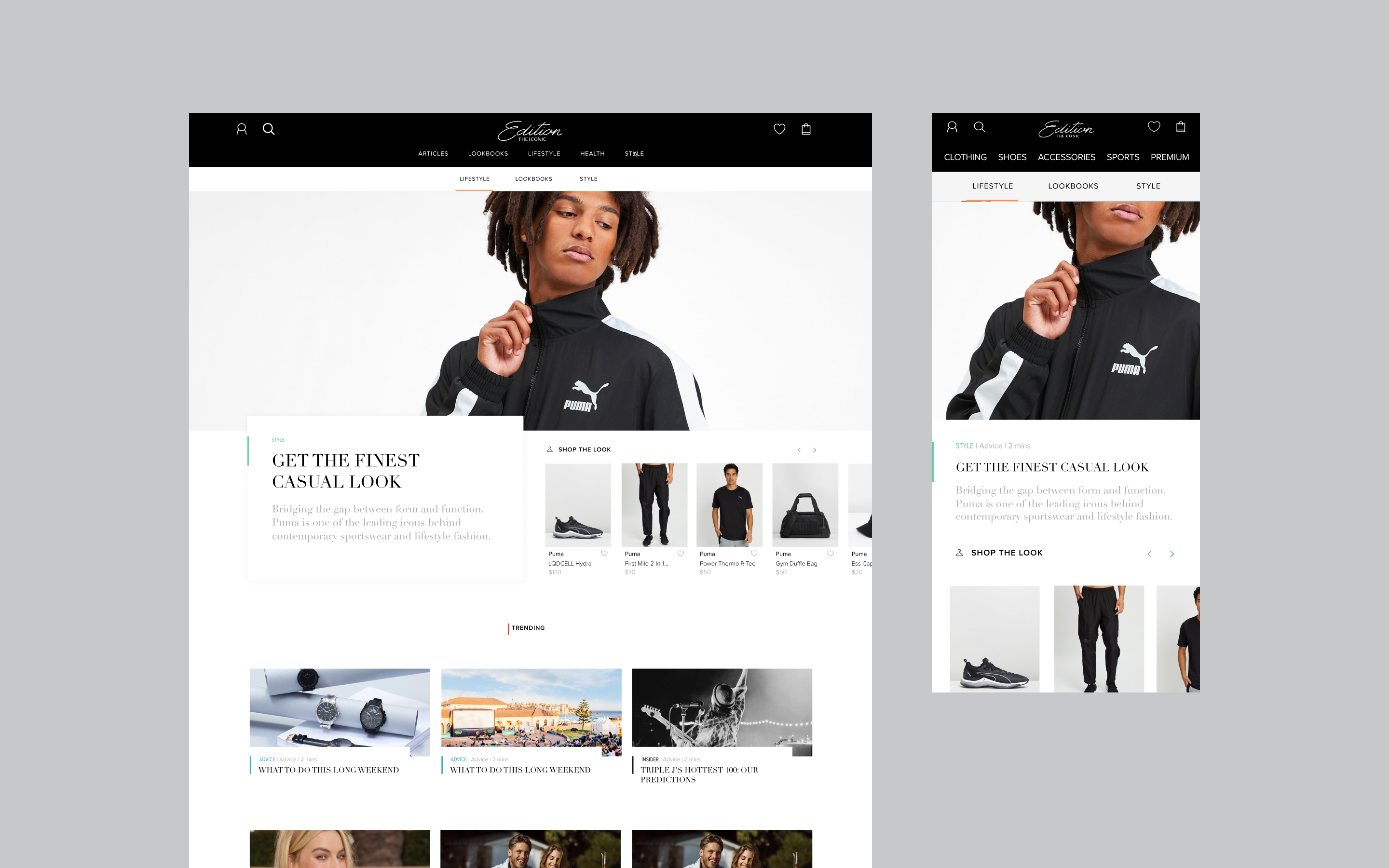 Edition by THE ICONIC's new homepage design, showcasing editorial and retail items