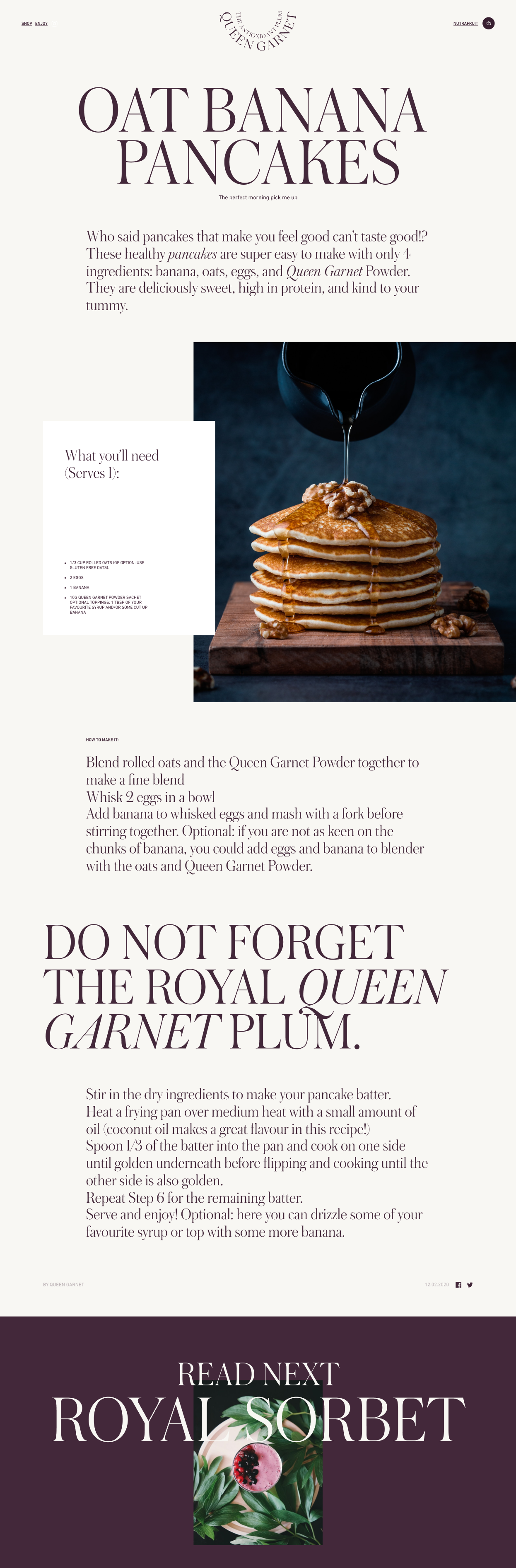 Long vertical image showcasing a Queen Garnet recipe page