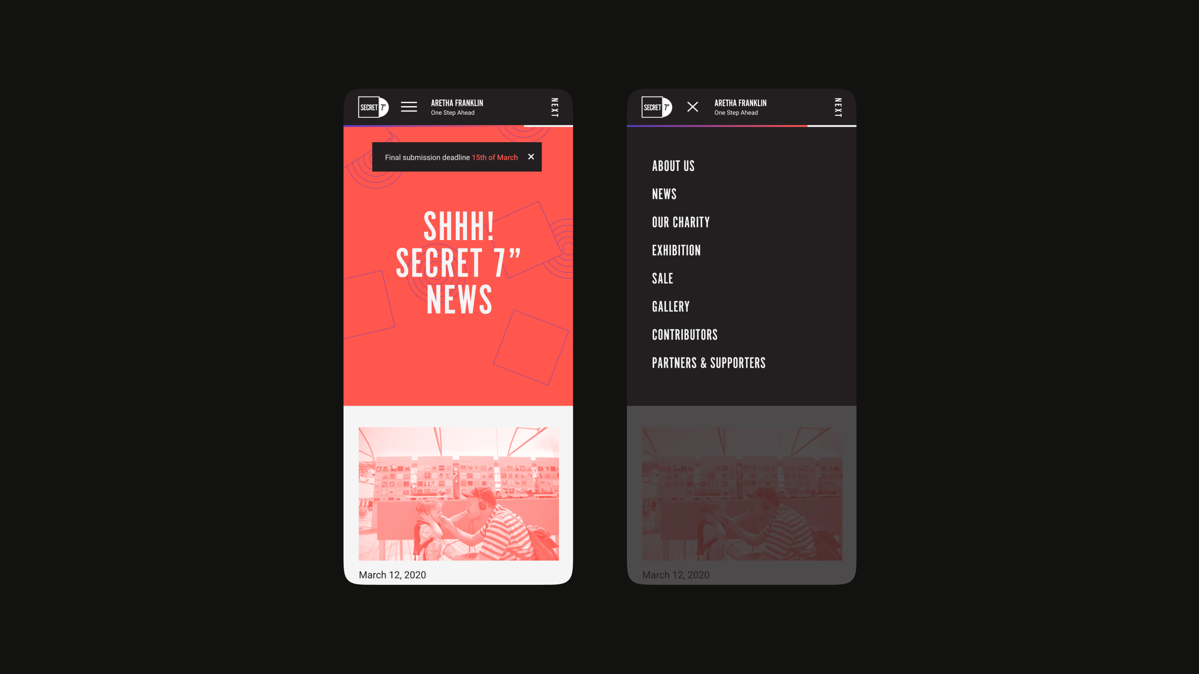 "Secret7"" 2020 website mobile homepage and open menu"