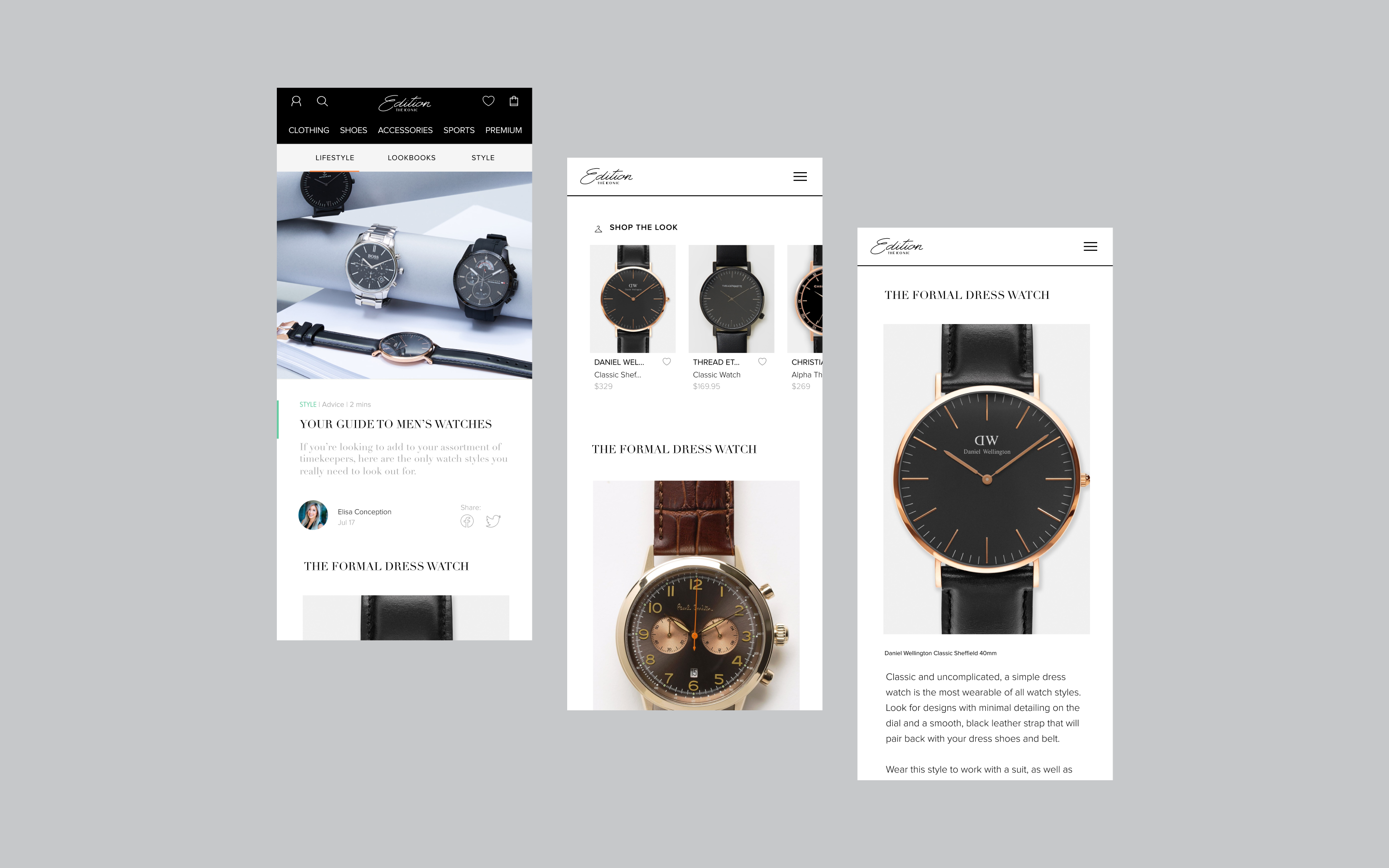 Edition by THE ICONIC three editorial mobile screens, showcasing a watch line article
