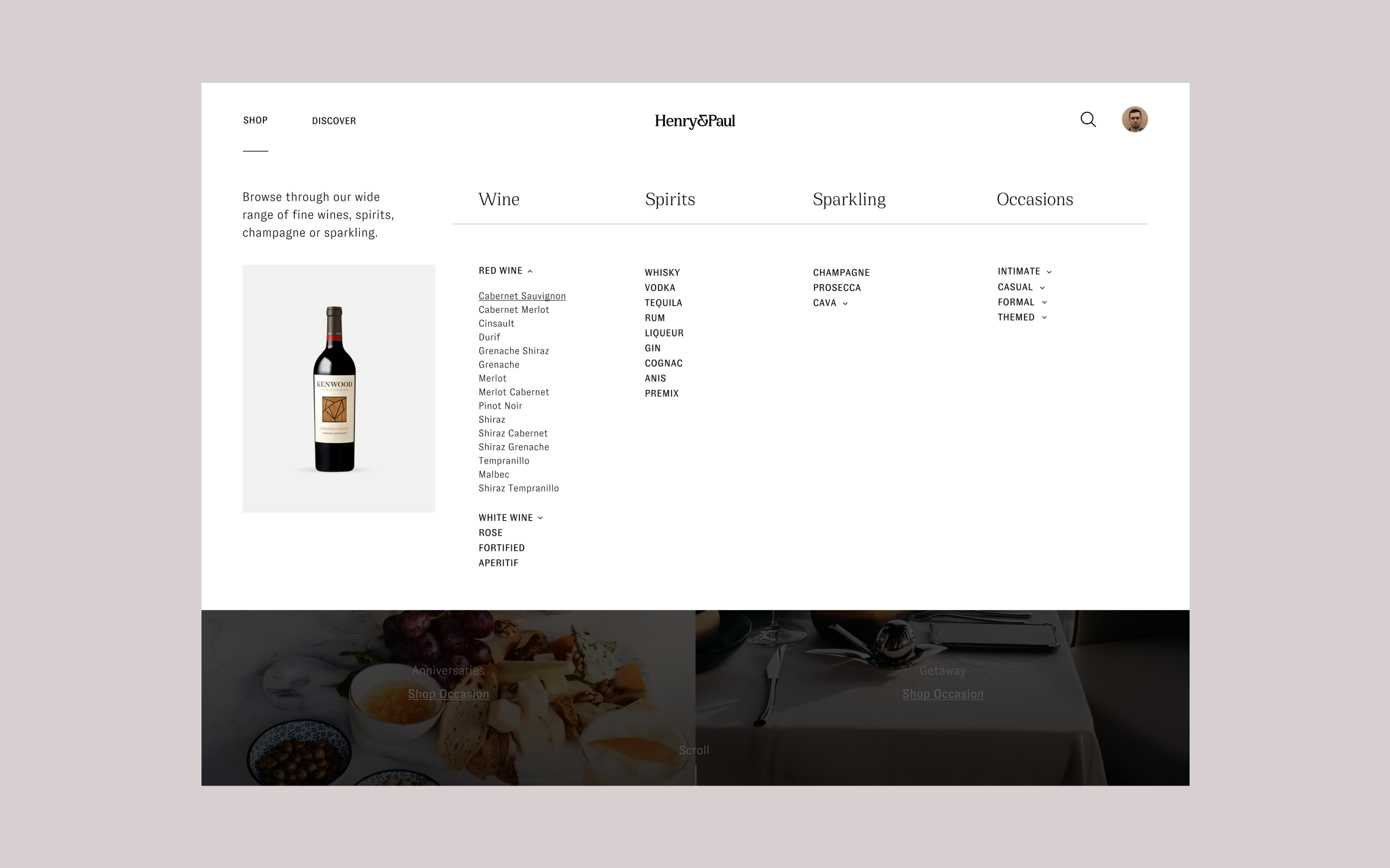 Henry & Paul desktop website, showcasing the drop down menu of all products