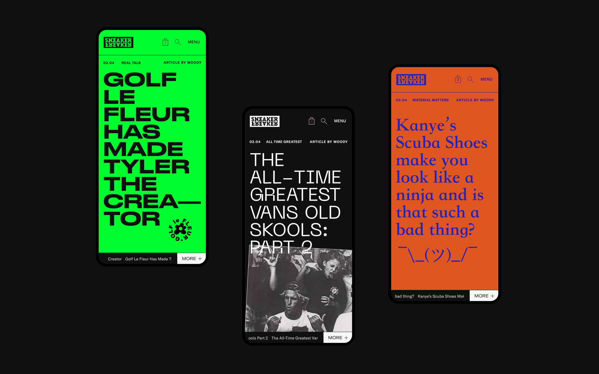 Three mobile screens showing variations of sneaker freaker article hero's