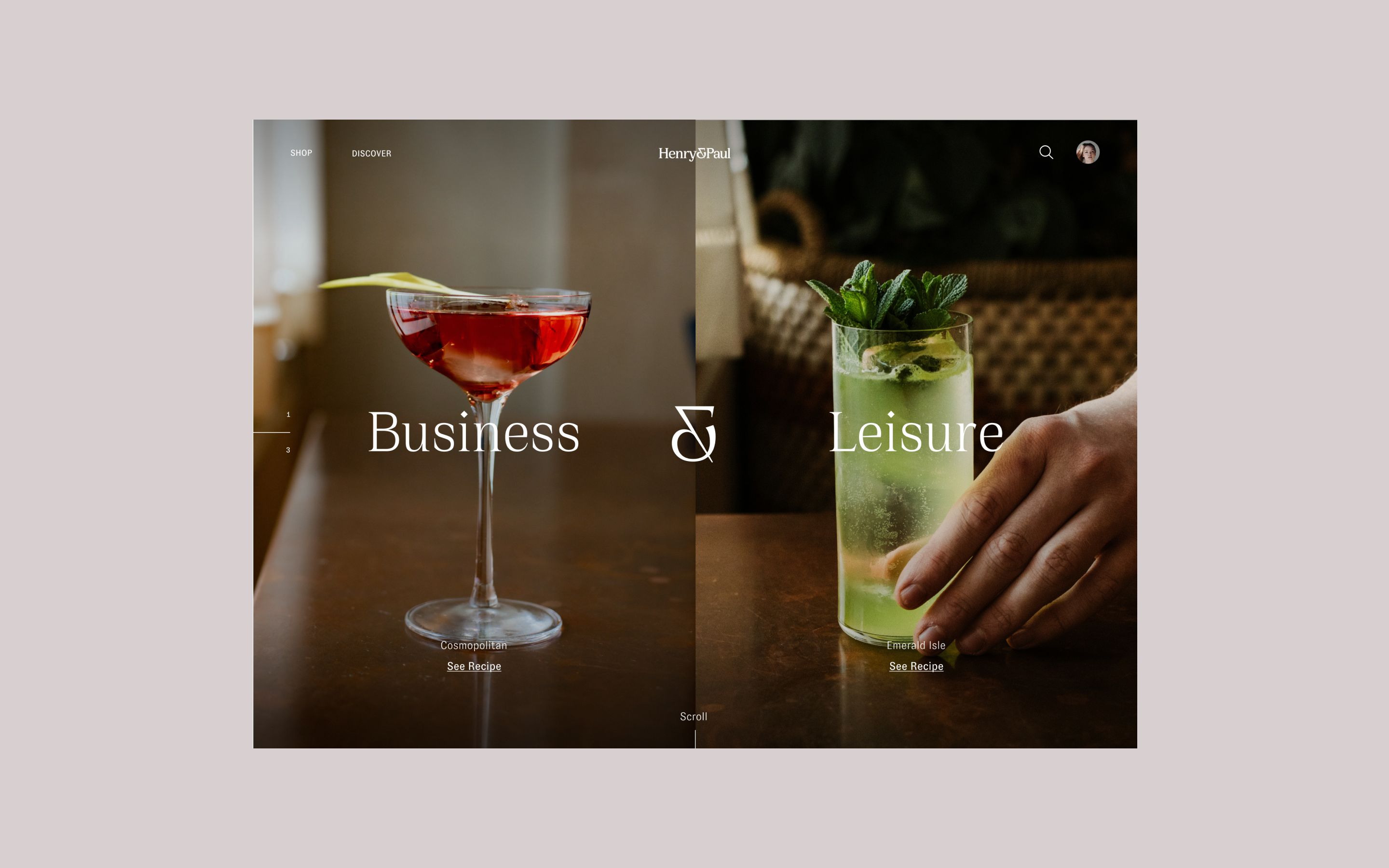 Henry & Paul website screen showing two different cocktails