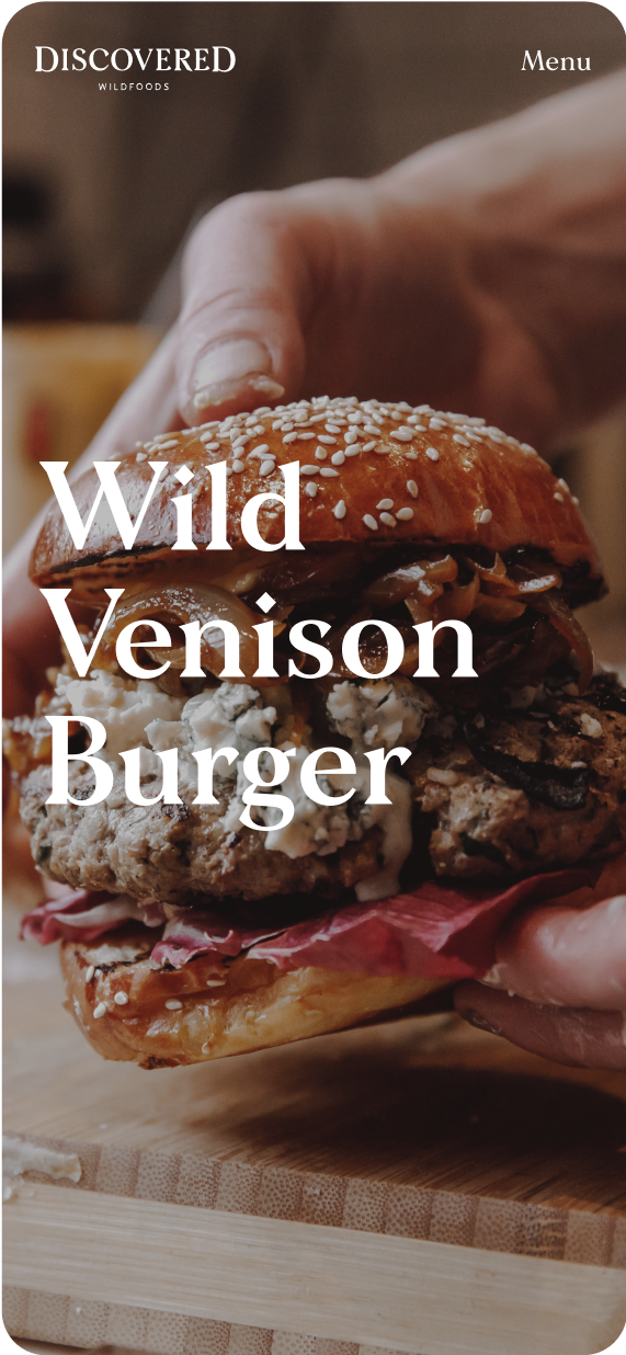 Wild Venison Burger mobile recipe page on discovered foods