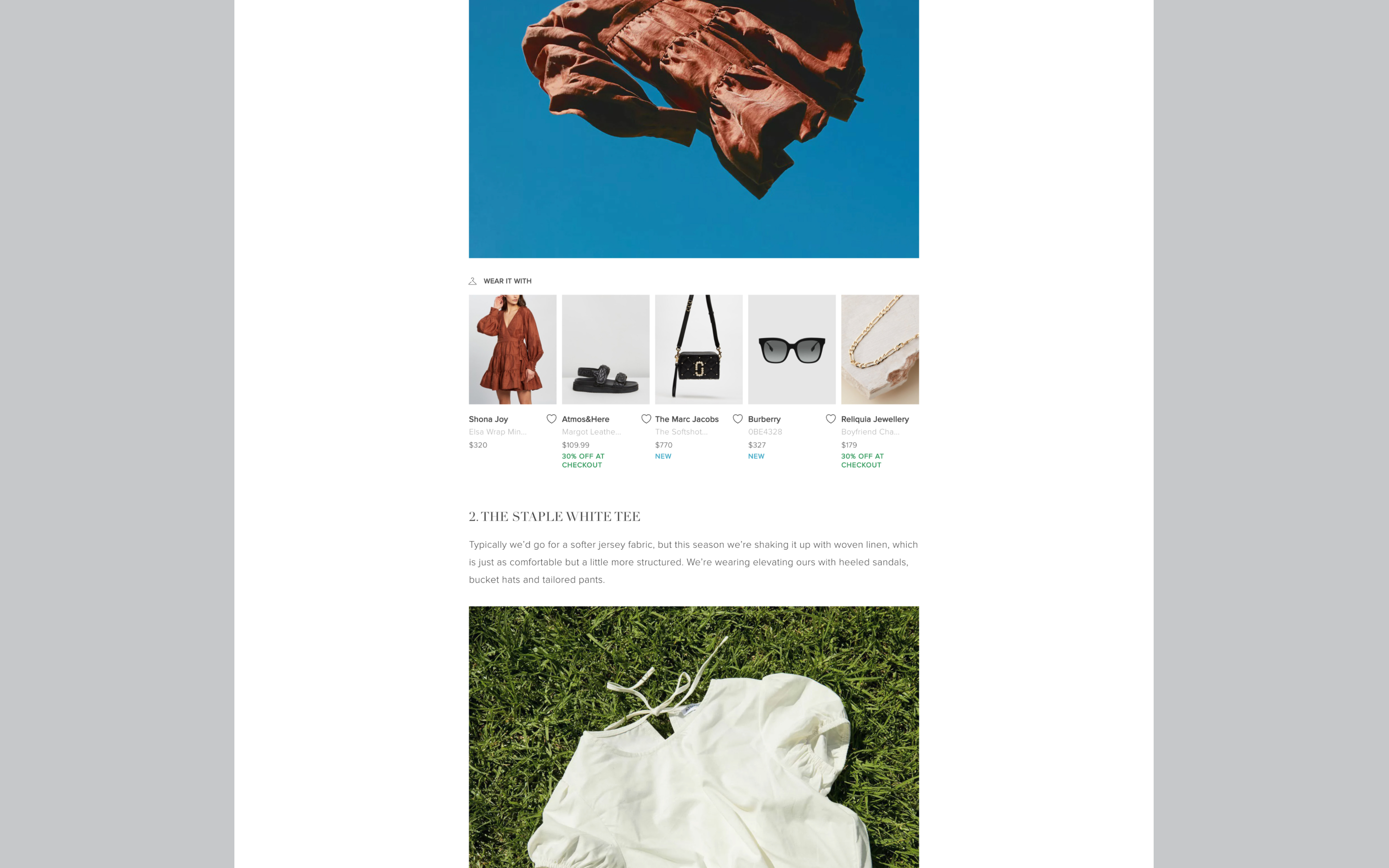 Edition by THE ICONIC article featuring 'shop the look' allowing users to directly purchase fashion items showcased in article imagery