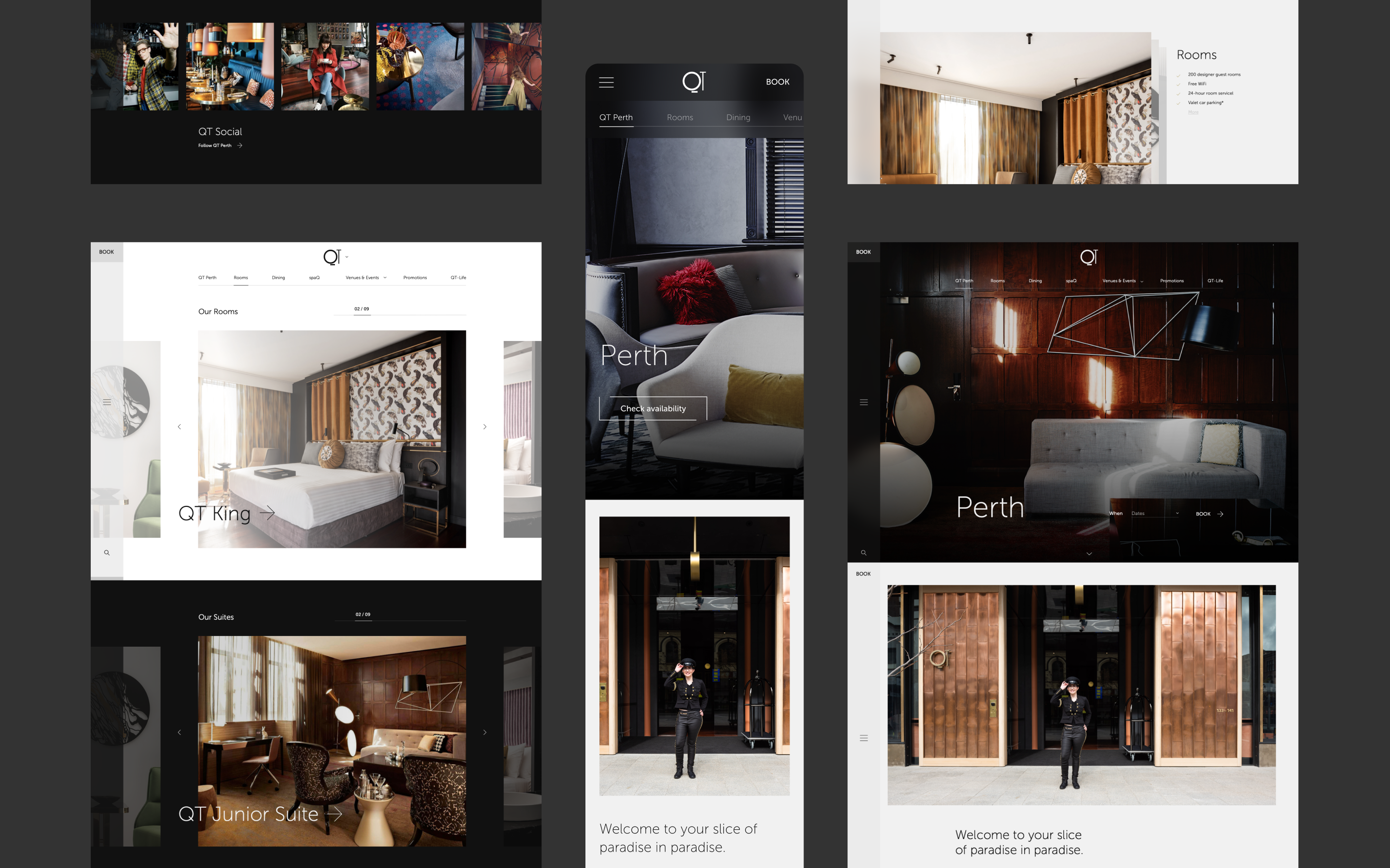 Collage of many different screens across the new QT website designs, all showing the new luxury experience